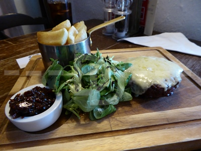 Burger for main course at the Pyne Arms, East Down