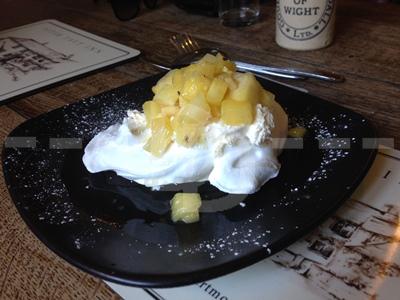 Pineapple and ginger pavlova for dessert at the Peter Tavy Inn, Dartmoor