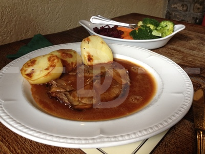 Roast beef for main course at the Peter Tavy Inn, Dartmoor