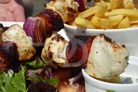 Chicken & chorizo skewers at The Pier House, Westward Ho!