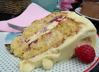Raspberry and white chocolate cake for afternoon tea at Tea on the Green, Westward Ho!