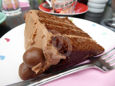 Chocolate malteser cake for morning coffee at Tea on the Green, Westward Ho!