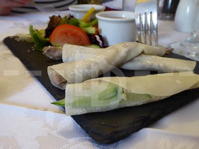 Crispy duck pancakes for starter at The Riverside Hotel, Boscastle