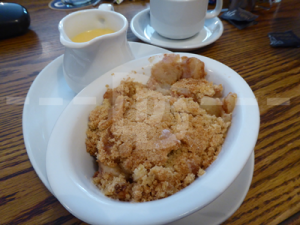 Apple crumble for dessert at The Hartland Quay Hotel, Hartland
