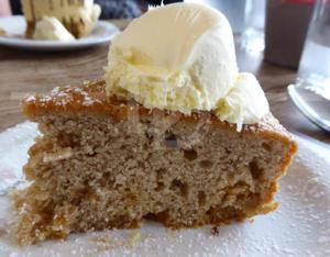 Dorset pear cake for dessert at The Black Horse Inn, Torrington