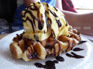 Waffles for dessert at The Black Horse Inn, Torrington