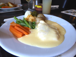 Cod mornay for lunch at The Crealock Arms, Littleham