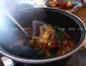 Portuguese fish stew for main course at The Culm Valley Inn, Culmstock