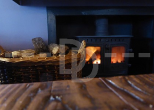Roaring fire in the Mill on the Exe, Exeter