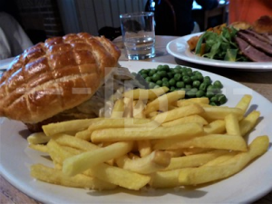 Chicken pie for Sunday lunch at The Drewe Arms, Broadhembury