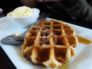 Waffles for dessert in The Black Dog Inn, Crediton