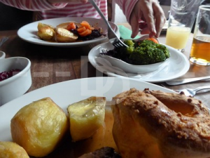 Roast turkey for Sunday lunch in The Sidmouth Arms, Upottery