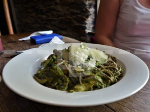 Black bean pasta with courgette for main course at The Grampus Inn, Lee Bay